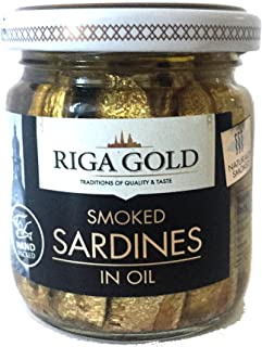 Riga Gold Smoked Sardines in Oil, 100g (Pack of 3) - Smoked Sprats in Oil - Wild Caught
