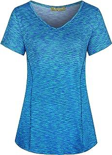 Woman Short Sleeve V Neck Athletic Yoga Shirt