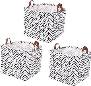 Lawei Lot de 3 Boîte de Rangement Pratique en Tissu Panier de Stockage pliable en toile avec motif géométrique pour la Mai...