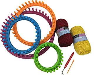 Craft Fun Crochet Loom Set of 4 Round Knitting Looms with 11.5 9.5 7.5 and 5-1/2 inch Sizes – Includes 1 Yarn Needle, 1 Loom Pick and 2 Balls of Baby Soft Yarn Colors Vary.