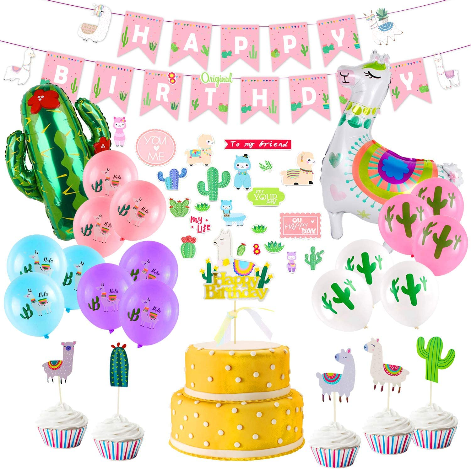 Llama Birthday Party Supplies, Birthday Party Decorations for Gi
