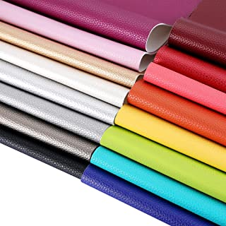 AOUXSEEM Faux Leather Sheets for Earrings Bows Making 16 Pcs A4 Size,Litchi Pattern PU Fabric,Plenty Beautiful Colors for Girls DIY Craft Materials