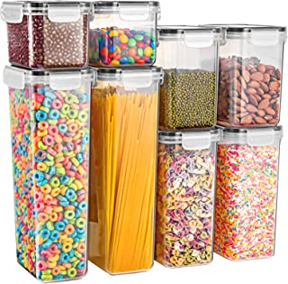 Gesentur Airtight Food Storage Containers, 8 Pack Plastic Cereal Containers Set with Lids for Kitchen Pantry Organization,...