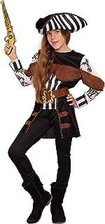 Magicoo Tatuering piratkostym flicka barn Gr 110 till 146 inkl. klänning & hatt – piratkostym karneval (122/128)