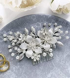 Wedding Hair Accessories Bridal Hair Comb Pearl Silver Floral Hair Pin Headpiece - For Brides and Bridesmaids