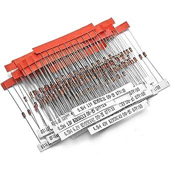 Chanzon 34 Values 0.5W Zener Diode Assorted Kit (2V 2.2V 2.4V 2.7V 3V 3.3V 3.6V 3.9V 4.3V 4.7V 5.1V 5.6V 6.2V 6.8V 7.5V 8.2V 9.1V 10V 11V 12V 13V 15V 16V 18V 20V 22V 24V 27V 30V 33V 36V 39V 43V 47V)