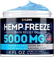 Coldee Pain Relief Hemp Oil Gel - 5000 MG, 4 OZ - Max Strength & Efficiency - Natural Hemp Extract for Arthritis, Knee, Joint & Back Pain - Made in USA - Hemp Cream for Inflammation & Sore Muscles