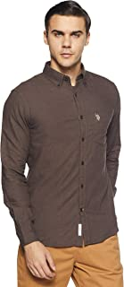 US Polo Men's Solid Regular Fit Casual Shirt