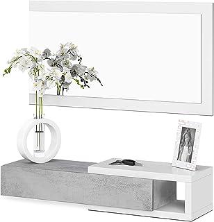 Habitdesign - Recibidor con cajón + Espejo Medidas 19 x 95 x 26 cm de Fondo (Blanco Artik y Cemento)