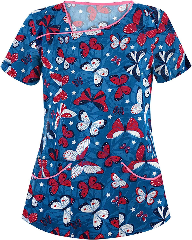 Leirke Women Bombing new work Cute Scrub_Top Working Uniform Sleeve V-Neck National uniform free shipping Short