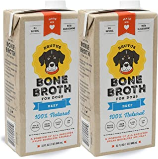 Brutus Bone Broth for Dogs | Healthy Beef Made in USA | Glucosamine & Chondroitin | Human Grade Gluten Free Ingredients | Healthy Joints for Puppies | Hydrating Topper for All Dog Breeds