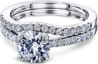 Classic Double-Prong 1ct Forever One Moissanite (DEF/VS) Stone Bridal Set - Multiple Gold Options