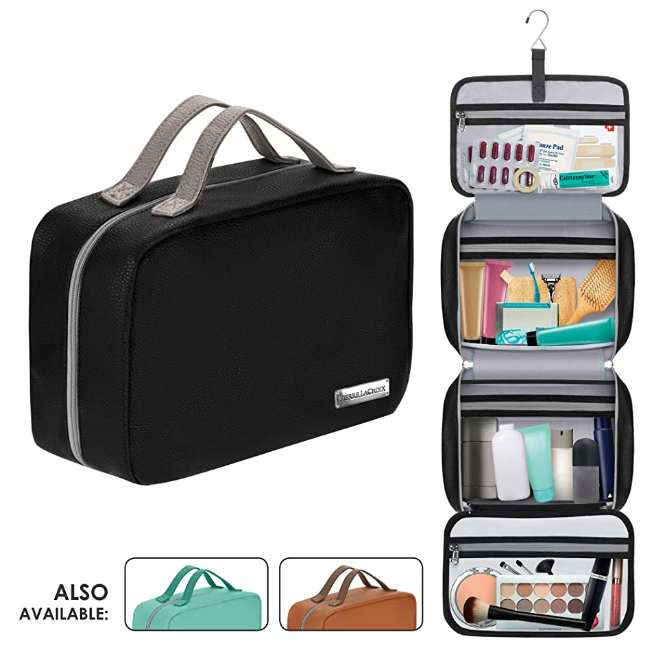 "Leather Hanging Travel Toiletry Bag for Men and Women (Cruelty-Free) | Large (34""x11"") 