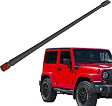 Rydonair Antenna Compatible with Jeep Wrangler JK JKU JL JLU Rubicon Sahara (2007-2019) | 13 inches Flexible Rubber Antenna Replacement | Designed for Optimized FM/AM Reception | w/Red Bottom