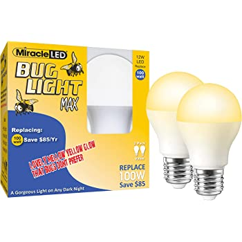 Miracle Led Wide Angle Yellow Bug Light Replaces 60w A19 Outdoor Bulb For Porch And Patio 8 Pack 604999 Amazon Com