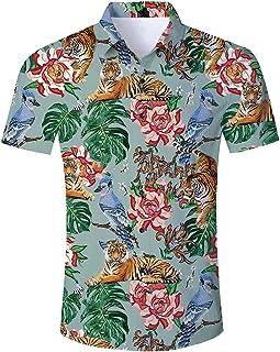 e676e83cf96f45 Loveternal Camicia Hawaiana Uomo Funky 3D Stampa Manica Corta Casual Shirt  M-XXL