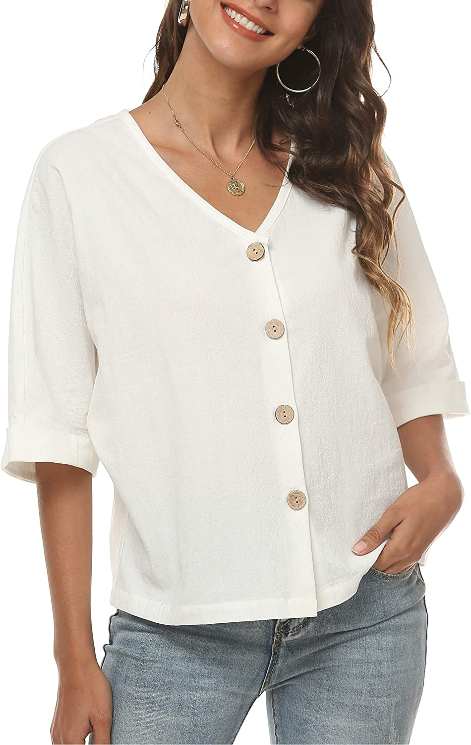 LNX Womens Linen Tops Button Down V Neck Half Cuffed Sleeve Two Wear Casual Summer T Shirts (Large, White)
