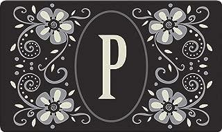 Toland Home Garden Classic Monogram P 18 x 30 Inch Decorative Floor Mat Flower Design Pattern Doormat