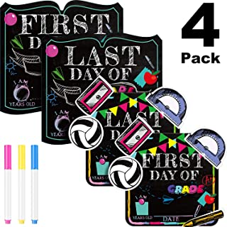 First Day School Sign, 4 Pieces Unique Back to School Sign with 3 Erasable Chalk Pens Reusable First Day Last Day School Sign Photo Booth Props Chalkboard Style