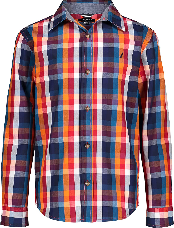 Nautica Boys' Long Sleeve Woven Plaid Shirt