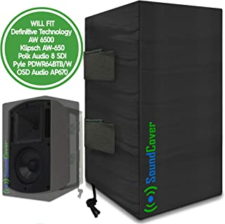 2 (Two) Large Outdoor Speaker Covers Bags - Fits Definitive Technology AW 6500, Klipsch AW-650, Polk Audio 8 SDI, Pyle PDWR64BTB/W Outdoor Speakers - (MAX Size: Height 15 X Width 9.45 X Depth 11 Inch)