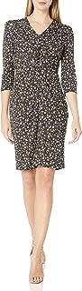 Lark & Ro Amazon Brand Women's Long Sleeve Matte Jersey Twist Front Dress, Dark Navy Small Flowers, S
