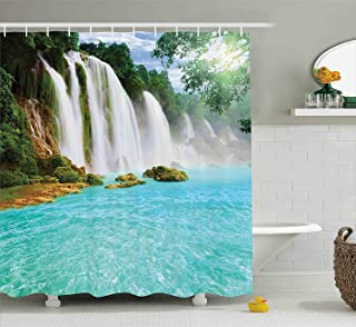 Ambesonne Waterfall Decor Collection, Ban Gioc- Detian Waterfall Forest Tropical Waterscape Clear Pool Picture, Polyester Fabric Bathroom Shower Curtain Set with Hooks, 75 Inches Long, Turquoise
