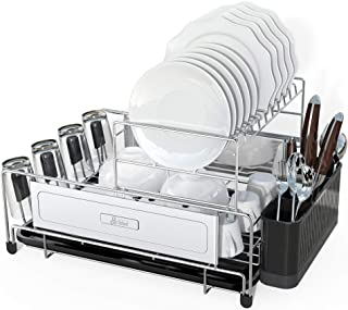 Dish Drying Rack, DDF iohEF 2-Tier Compact Kitchen Dish Rack with Removable Drain Board Utensil Holder Non-Slip Cup Holder...