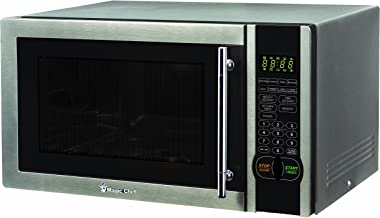 Magic Chef MCM1110ST 1.1 Cu. Ft. 1000W Countertop Microwave Oven with Stylish Door Handle, Black