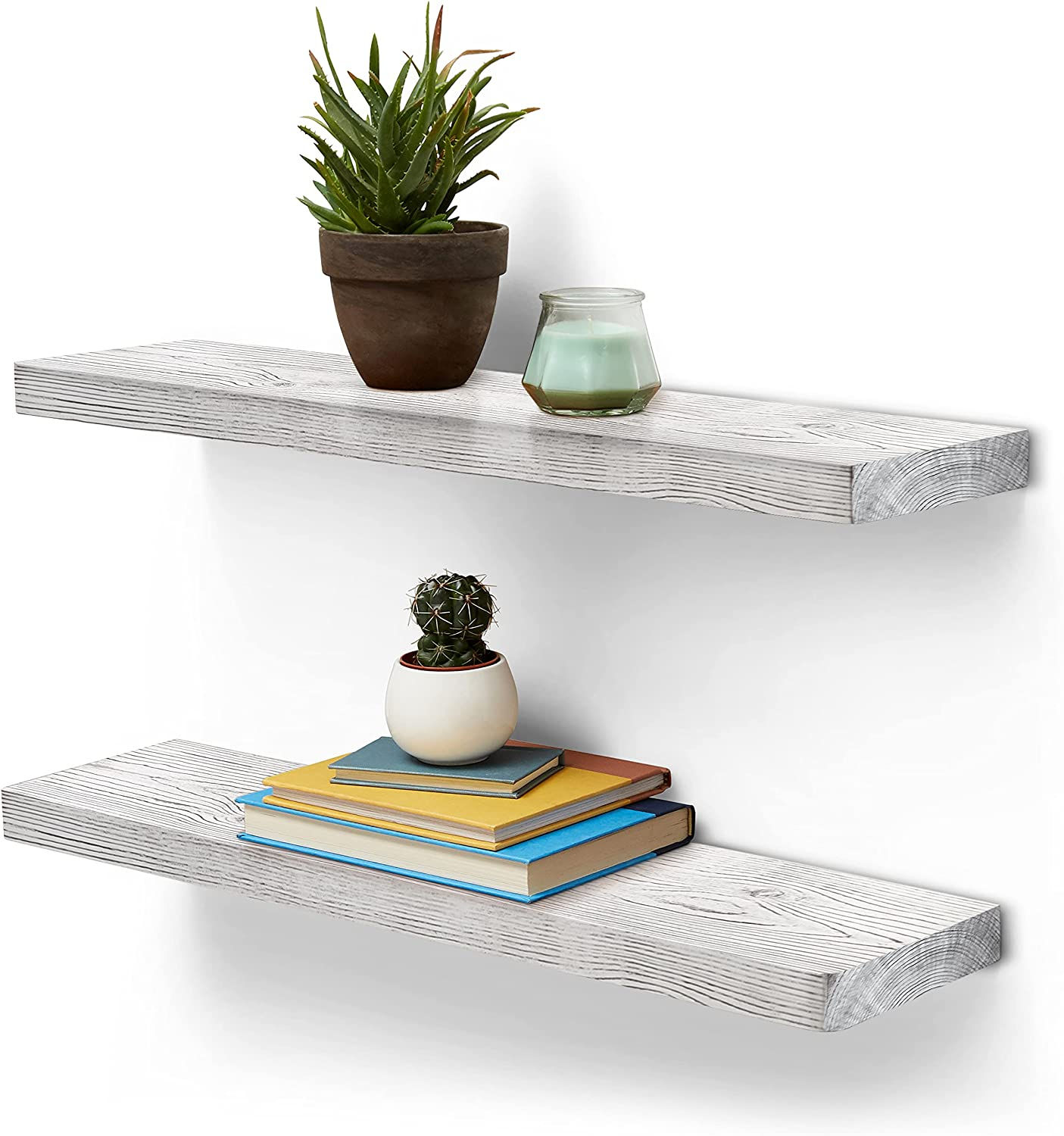 Homexxpress Rustic Wood Trust Floating Wall Shelves - Sale price 2 of Pine Set