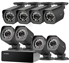 Zmodo 8 Pack 720P HD Weatherproof sPoE Security Camera w/8CH sPoE Repeater for Power & Data Transmission, Remote Monitoring,Free 6-Month Cloud Service for Recording(Activation Code: FISH1C08)