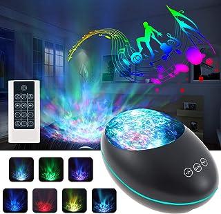 Lampara Proyector Océano Ola Bluetooth 5.0, Achort Lámpara Proyector Infantil Luz Nocturna con 8 Música, 8 Modos, con Control Remoto y Temporizador Proyector Noche Adultos Niños Regalo