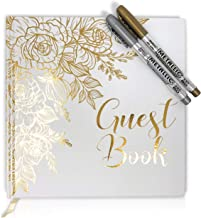 Lemon Sherbet Wedding Guest Book – Photo Album Sign in – with Gold Foil & Gilded Edges – Hard Cover Book with Thick White Paper – 32 Pages – Comes with Two Metallic Markers