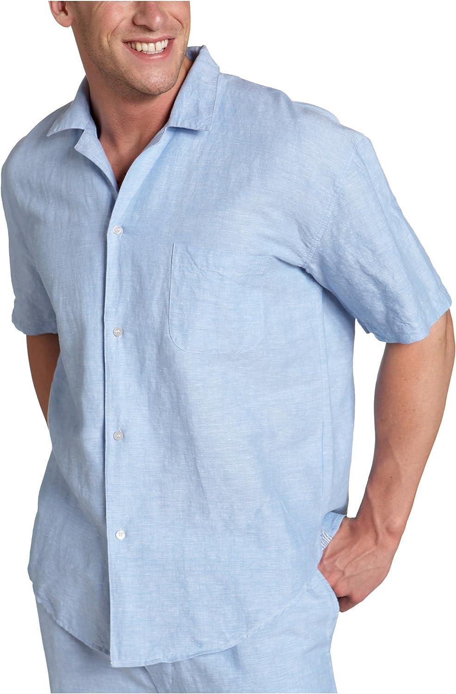 Nautica Sleepwear Men's Solid San Jose Mall Linen Sleeve Camp Shirt 2021 model Short