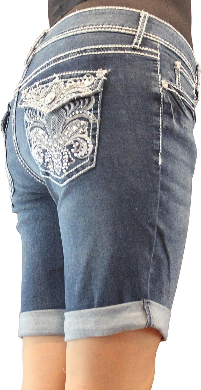 Project Indigo Women Houston Mall Jean Missy Embroidery Bermuda 25% OFF Short Crystal