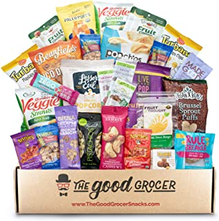 GLUTEN FREE and VEGAN Healthy Snacks Care Package (28 Ct): Vegan Snacks, Bars, Chips, Crispy Fruit, Nuts Trail Mix, Gift B...