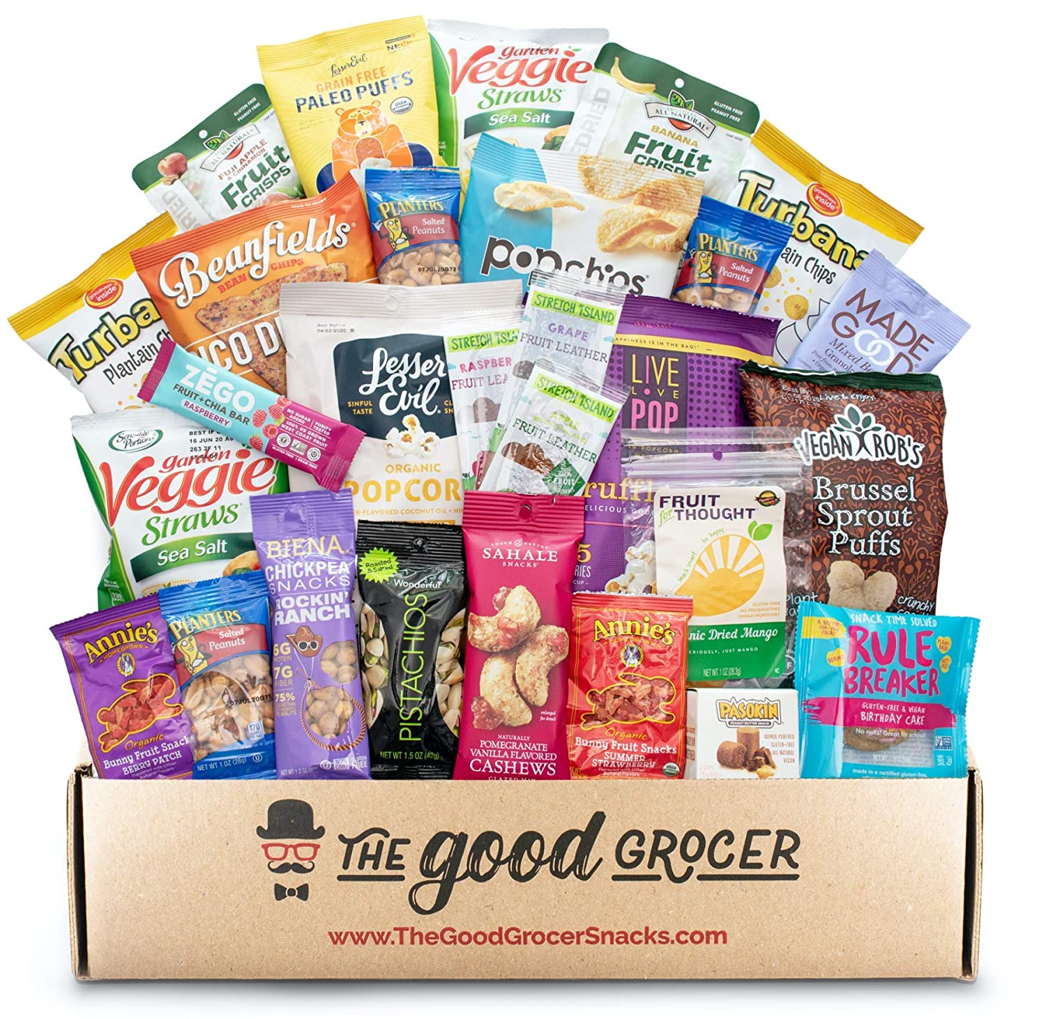 GLUTEN FREE and VEGAN (DAIRY and FIG FREE) Healthy Snacks Care Package (28 Ct): Cookies, Bars, Chips, Fruit, Nuts, Trail Mix, Gift Box Sampler, Office Variety, College Student Care Package, Gift Basket Alternative