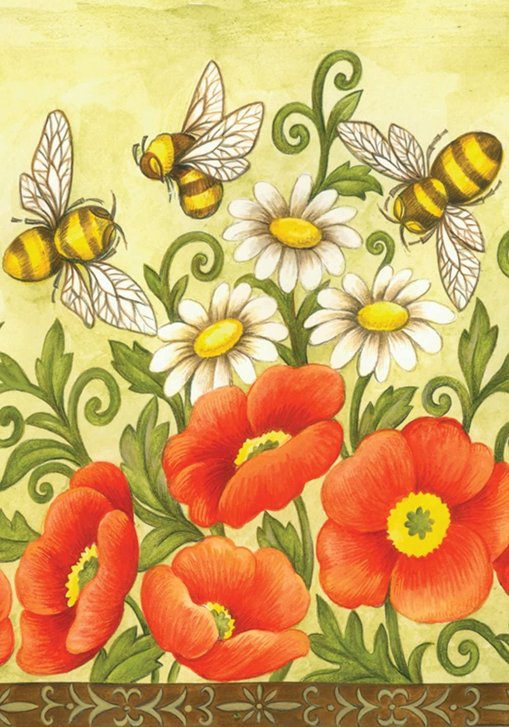 Toland Home Garden Bees and Wildflowers Decorativ Max 62% OFF 18 x Inch Super sale period limited 12.5