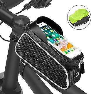 FishOaky Bike Front Frame Bags, Waterproof Bicycle Phone Mount Bag, Sensitive Touch Screen Sun Visor Large Capacity Top Tube Bike Bag Fits for iPhone Xs / 8 Plus, Galaxy Note 9/8/7/ S9,Below 6.5