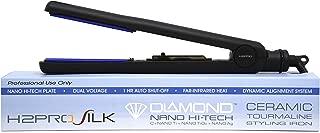 H2PRO Silk Titanium Ceramic Tourmaline Treated Plates Styling Iron Straightener 1 1/4'' Black SR114