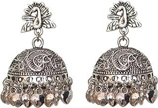 Sansar India Oxidized Beaded Jhumka Jhumki Indian Earrings Jewelry for Girls and Women