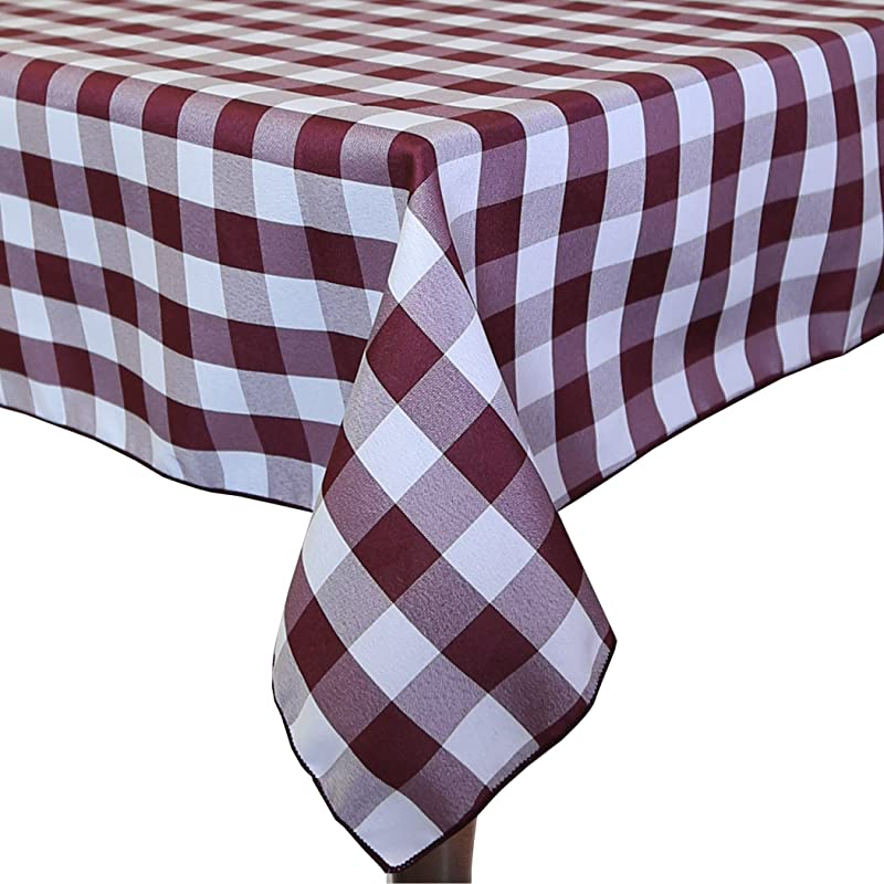 Ultimate Textile 3 Pack 60 X 108 Inch Rectangular Polyester Gingham Checkered Tablecloth Burgundy And White