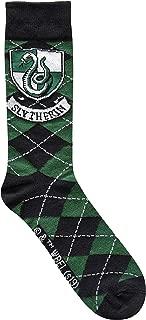 Slytherin Crest Argyle Pattern Men's Crew Socks