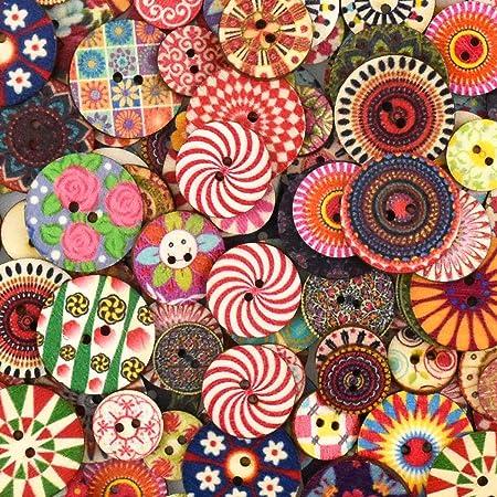 100 Piezas Botones De Madera Retro Redonda Botones Costura Colores Pintados 2 Agujeros Botones Decorativos para Coser Manualidades DIY Elaboración Artesanía 20 mm