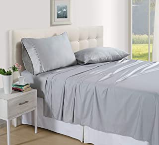 Luxus Premium 100% Cotton Flexi Fit Sheet Set - 4 Piece - King Size - Soft Sateen Weave - Smooth - Breathable - Durable - All Season Bed Sheet Set - Deep Pocket - Easy fit - Smoke