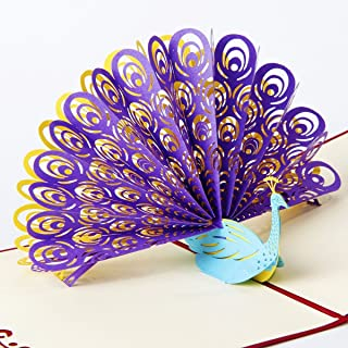 3D Peacock Pop Up Card and Envelope - Funny Unique Pop Up Greeting Card for Birthday, Christmas, New Year, Anniversary, Valentine, Wedding, Graduation, Thank You. Purple Tail Blue Peacock