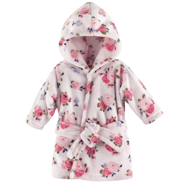 Luvable Friends Unisex Baby Plush Bathrobe, Floral, 0-9M