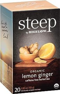 steep by Bigelow Organic Lemon Ginger Herbal Tea Bags, 20 Count Box (Pack of 6), Caffeine Free Herbal Tea, 120 Tea Bags Total