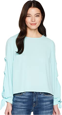 Petite Long Sleeve Tiered Tie Cuff Textured Blouse
