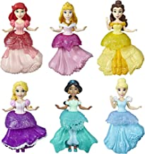 Disney Princess Collectible Dolls, Set of 6 with 6 Royal Clips Fashions, One-Clip Dresses, Toy for 3 Year Olds & Up